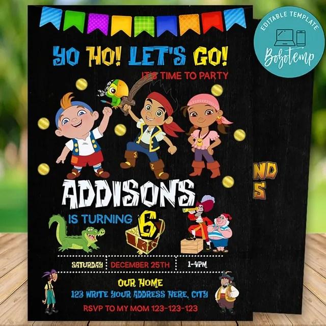 printable jake and the neverland pirates birthday invitation diy
