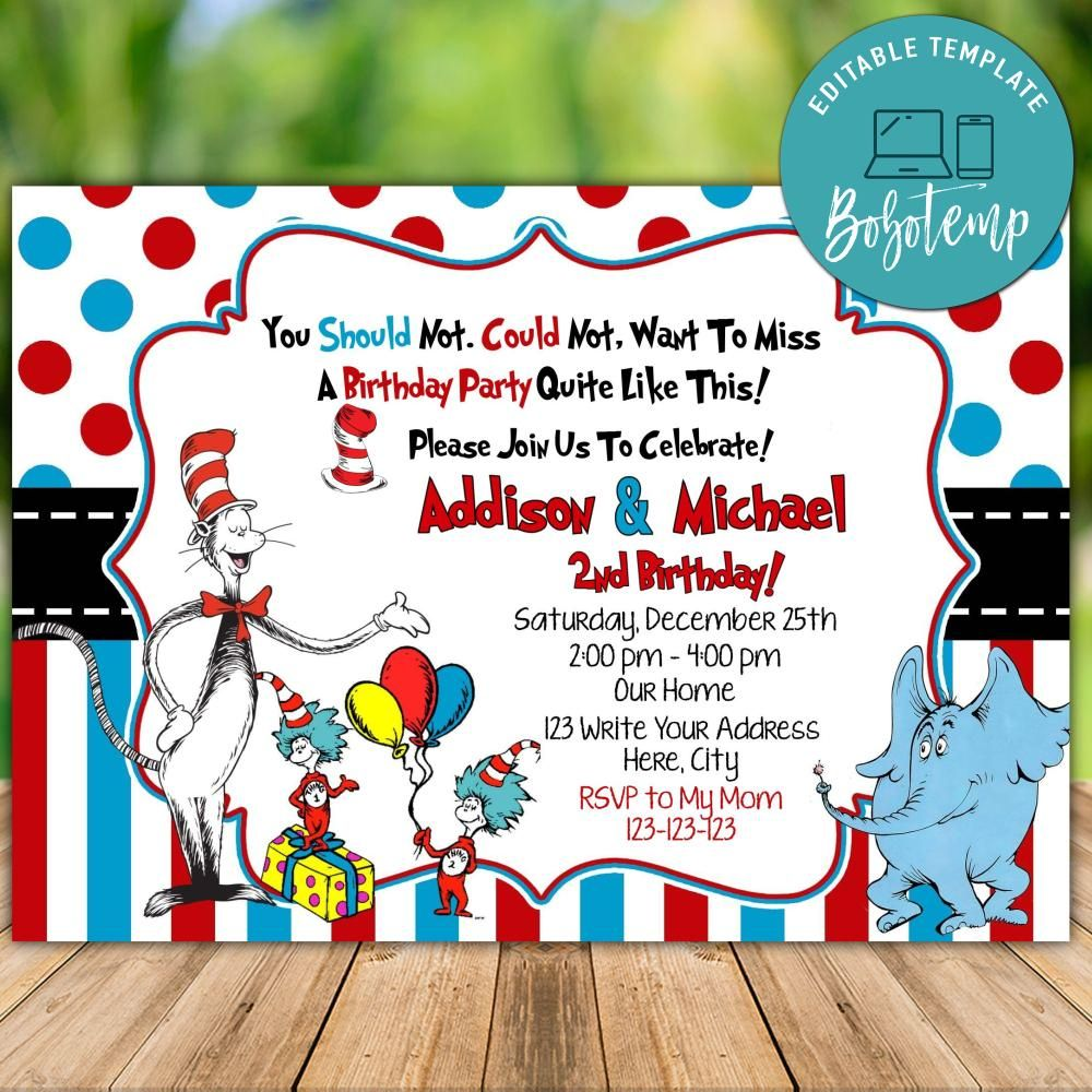 printable thing 1 thing 2 birthday invitations instant download