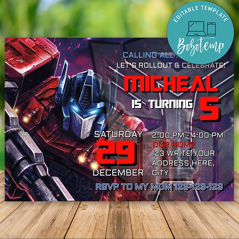 editable transformers optimus prime birthday invitations diy