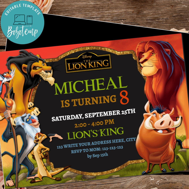 editable the lion king birthday invitations simba savanna diy