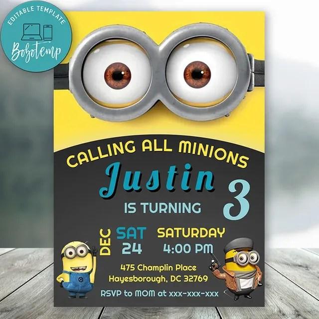 editable minion birthday invitation digital file