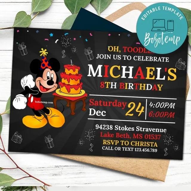 editable disney mickey mouse birthday party diy