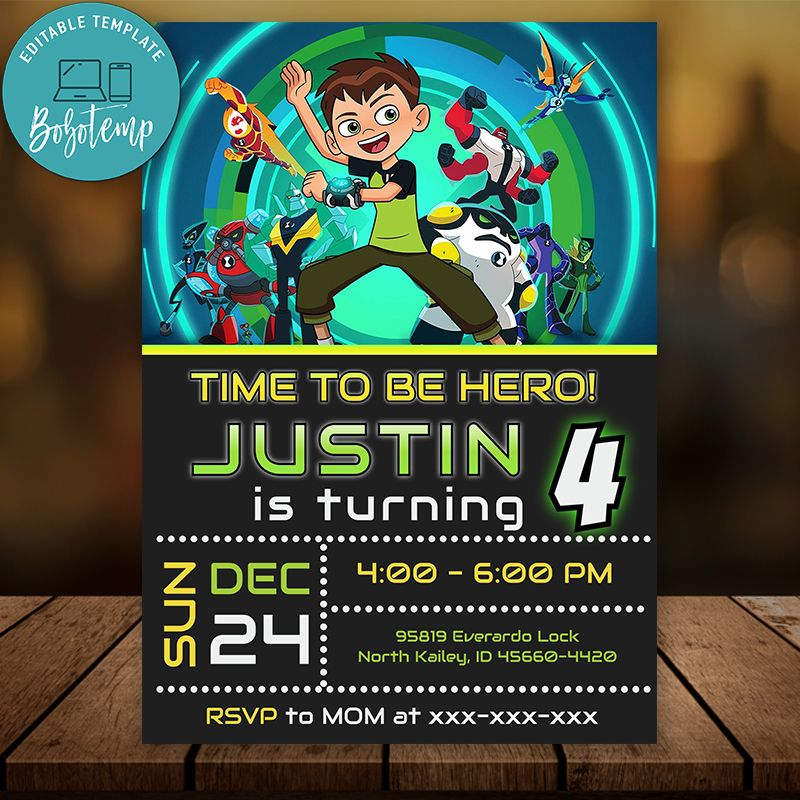 editable ben 10 birthday invitation instant download