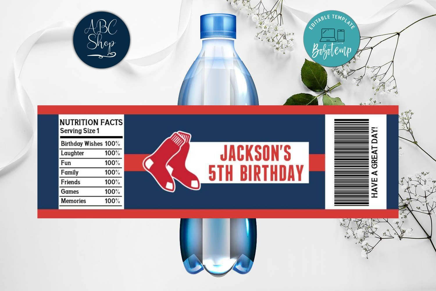 Printable Boston Red Sox Water Bottle Labels Instant