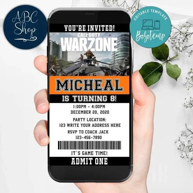 electronic call of duty warzone evite birthday invitations diy