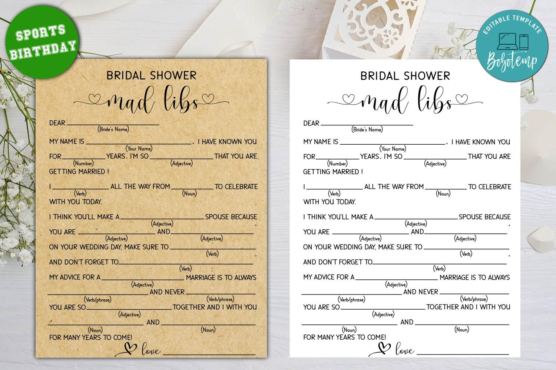 Printable Bridal Shower Mad Libs Bridal Shower Game Diy