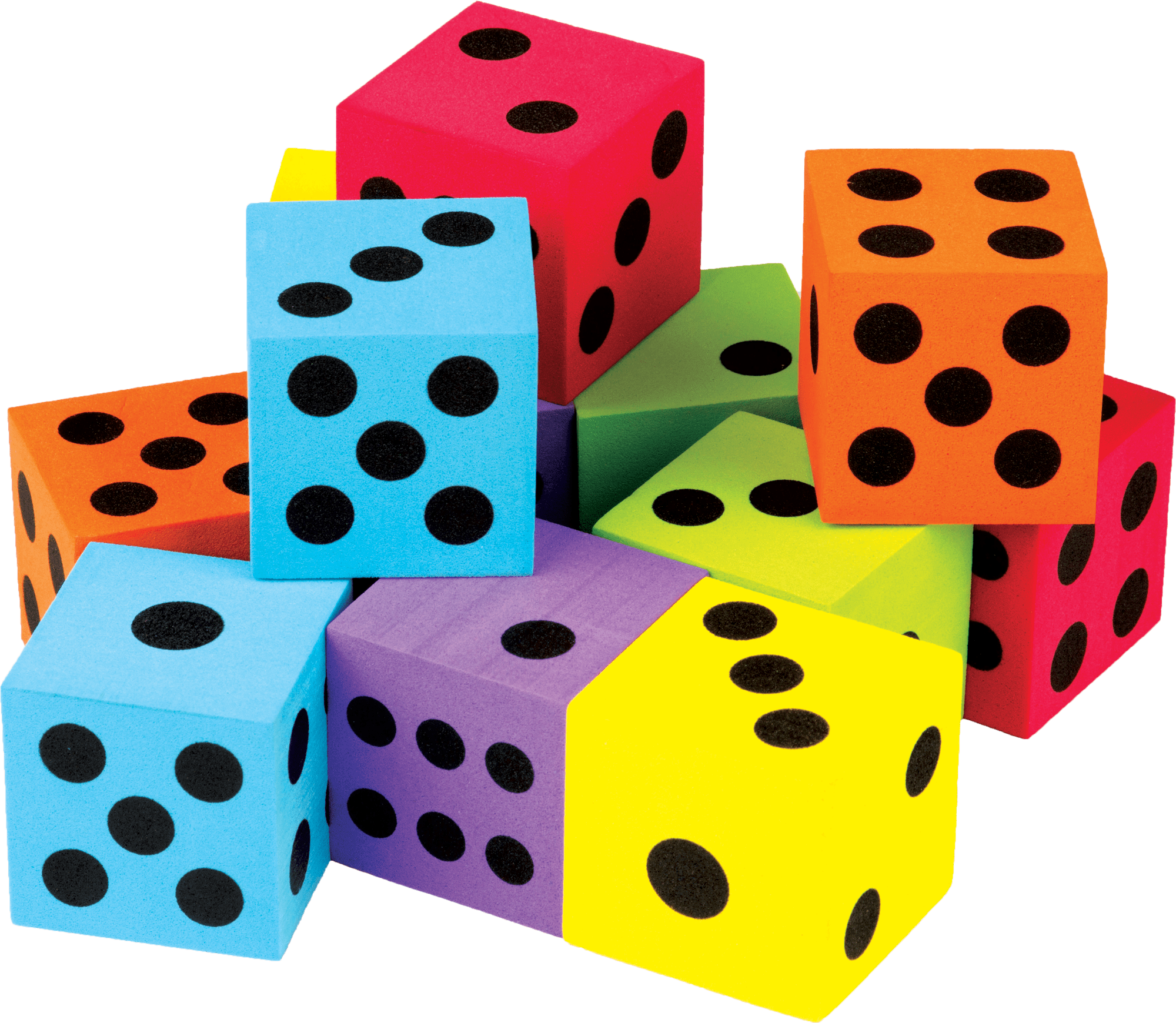 Colorful Large Dice 12 Pack