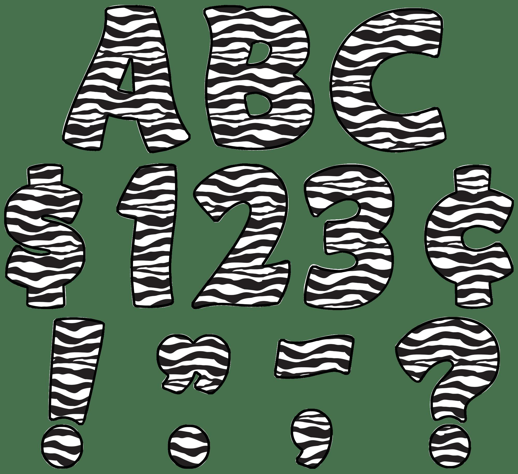 Zebra Print Funtastic 4 Letters Uppercase Pack