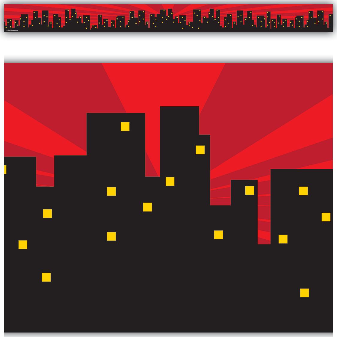 Superhero Cityscape Straight Border Trim Tcr5831