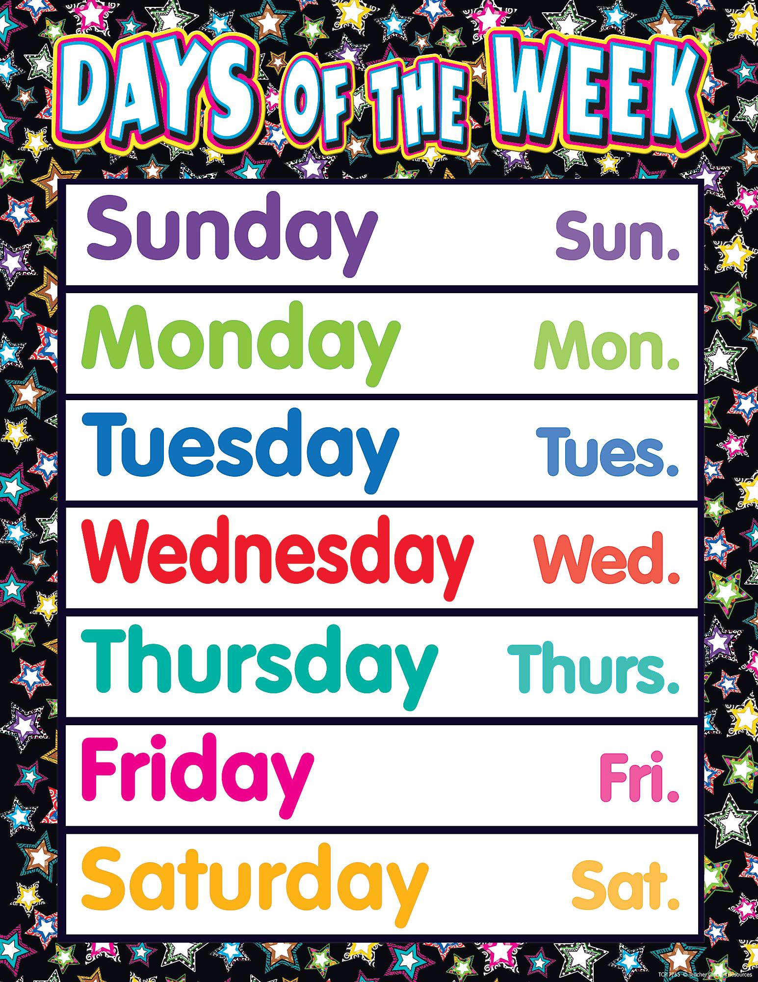 Fancy Stars Days Of The Week Chart