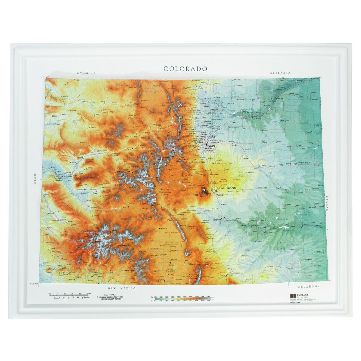 Hubbard Scientific Raised Relief Map Colorado State Map