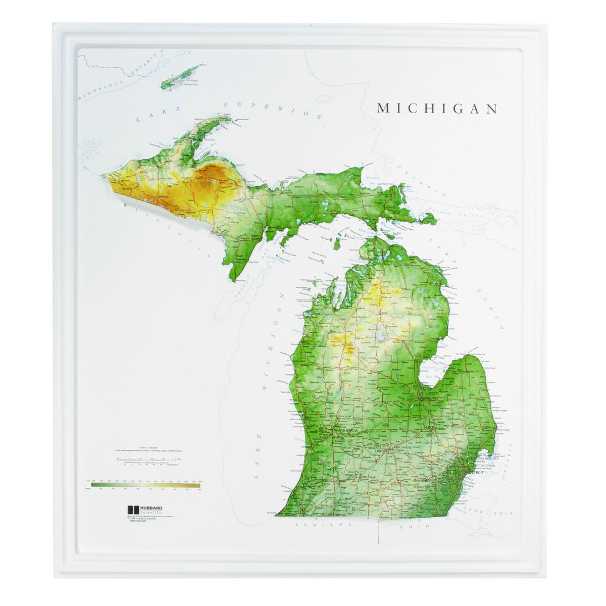 Hubbard Scientific Raised Relief Map Michigan State