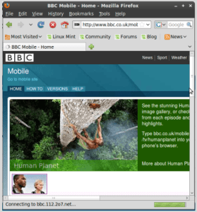 BBC Wap site Is Viewing on Firefox