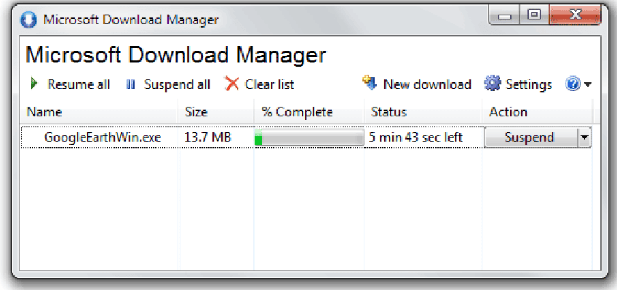 A Simple Free Download Manager by Microsoft