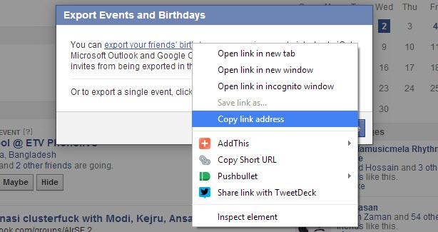 Copy Facebook birthdays calendar Link