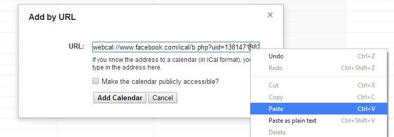 Paste Facebook calendar URL