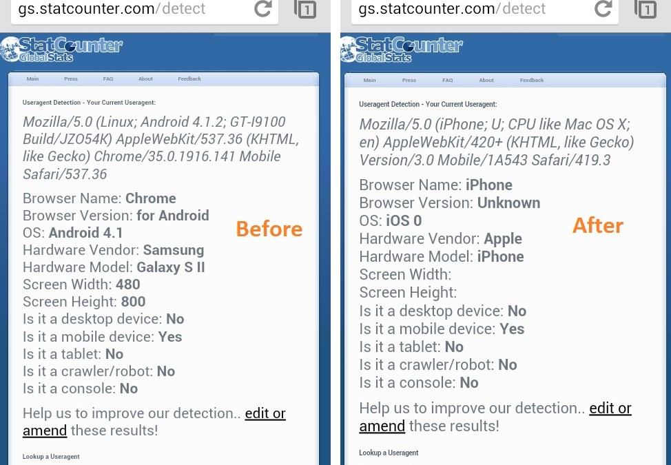 Change Chrome for Android User Agent String to Pretend to be Another Browser or OS to Any Website