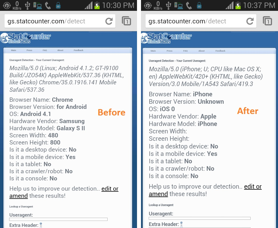 Before and after changing UA to iPhone