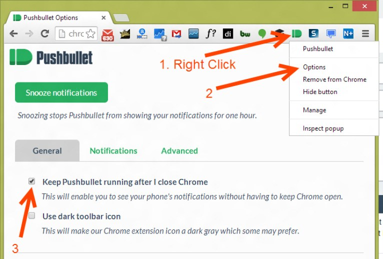 Enabling pushbullet notification in chrome