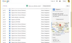 Entire Google account activity