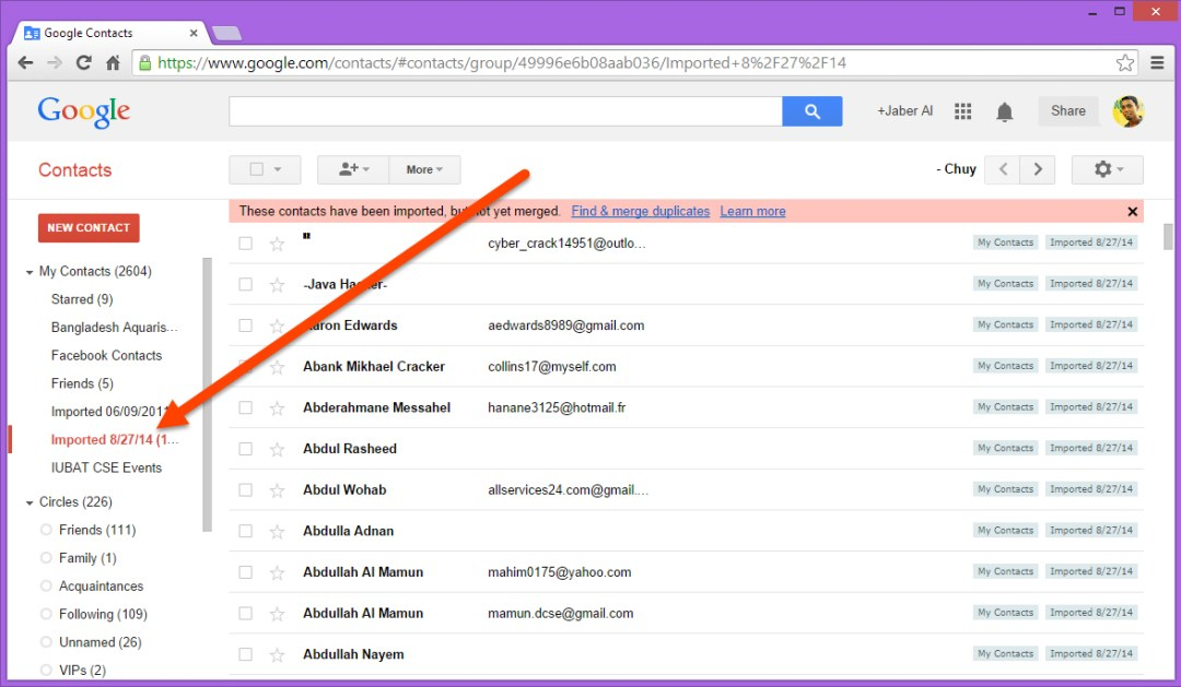 Access newly inported Facebook contacts in Google