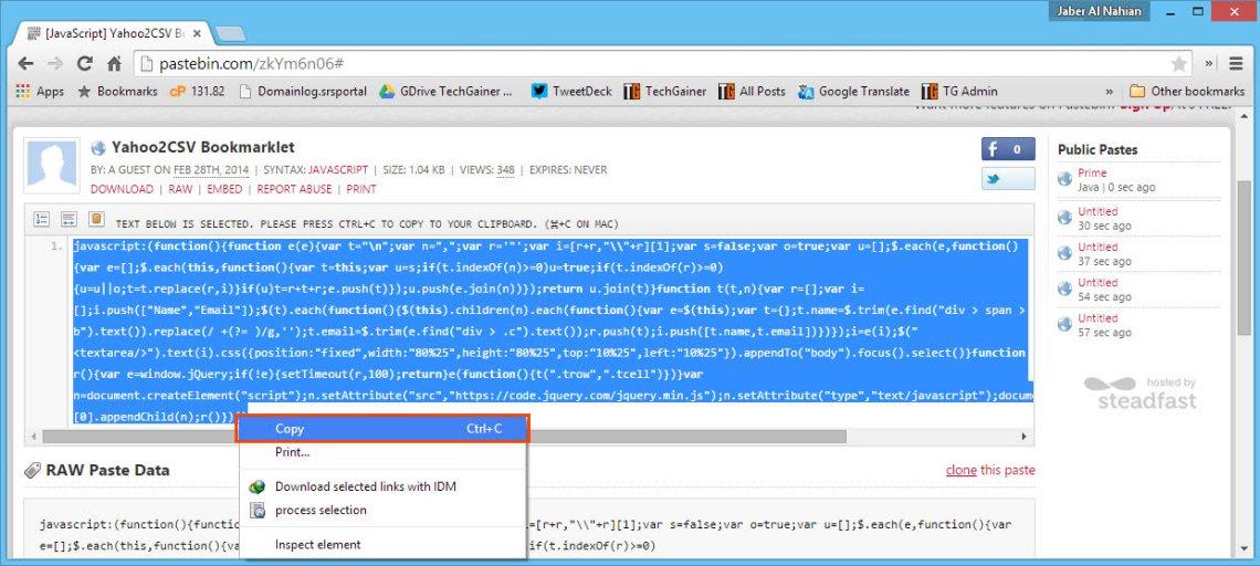 Copy the JavaScript of Yahoo to CSV