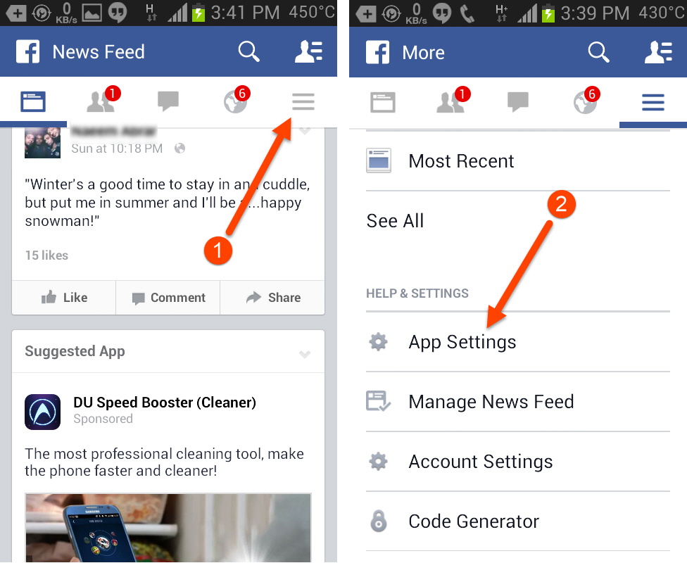 Access Facebook app settings