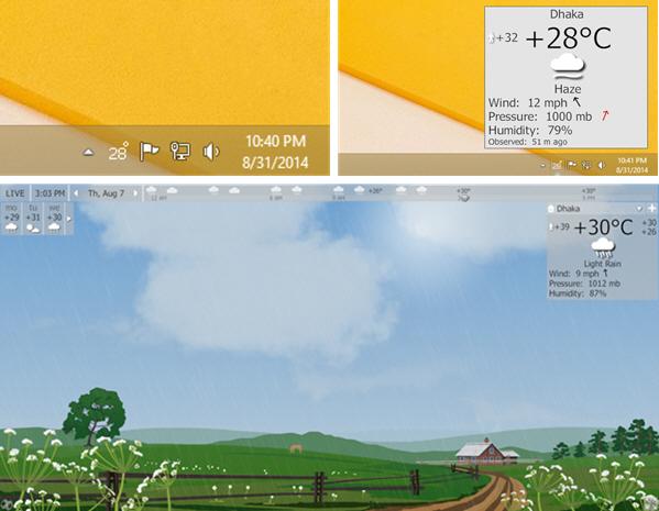 Display weather on windows taskbar and screensaver