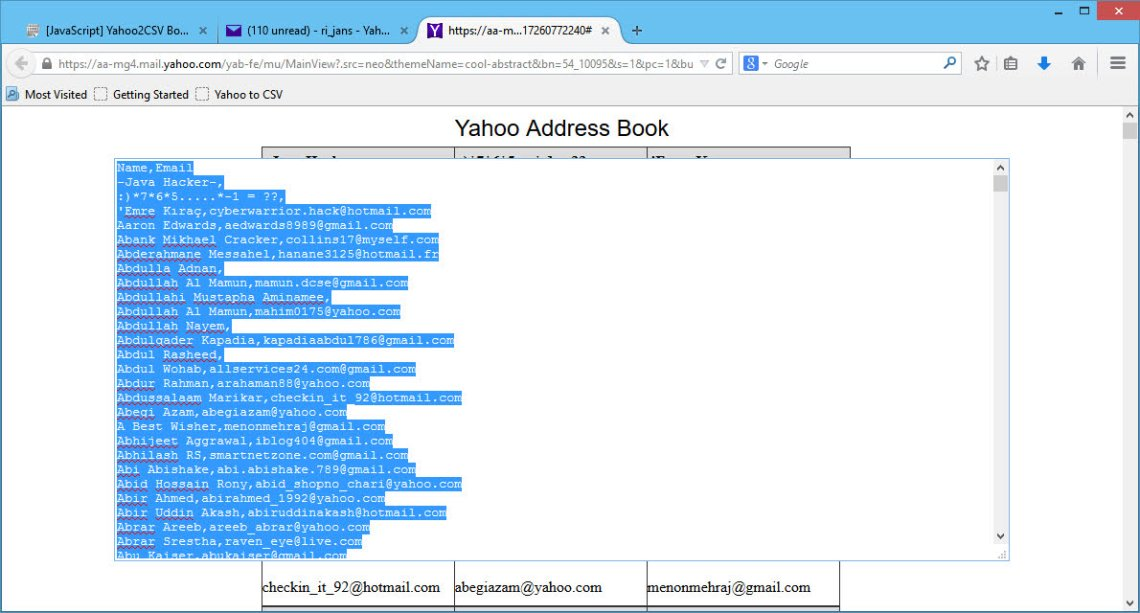 Export Yahoo contacts on Firefox