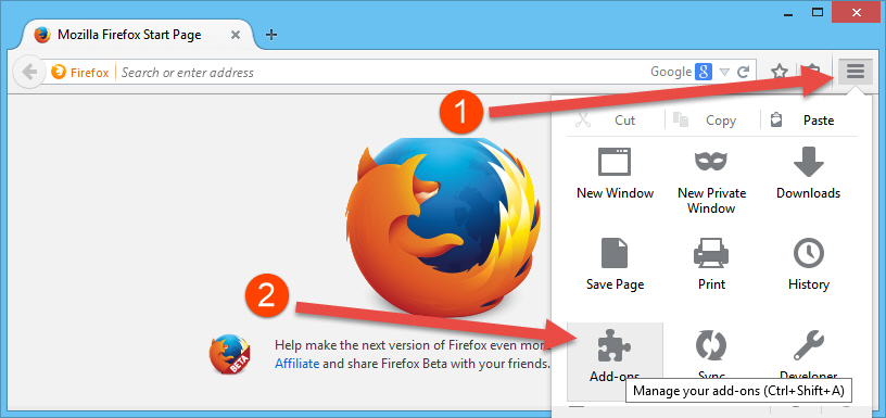 Access Firefox Add-ons page