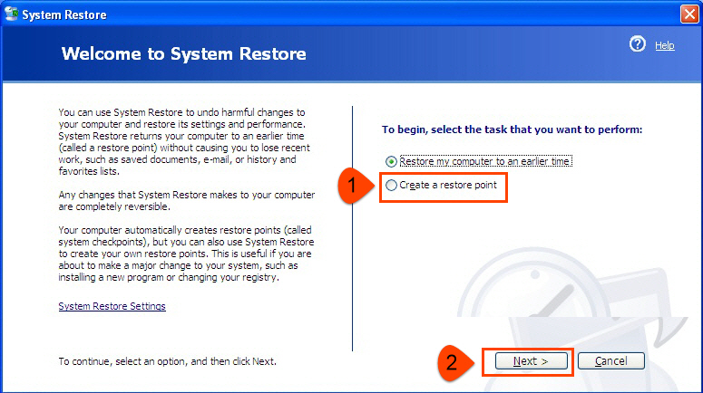 Create restore point in Windows XP