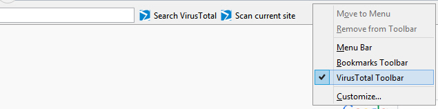 Disable VirusTotal toolbar