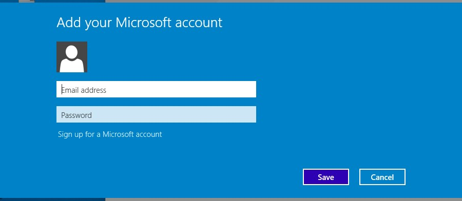 Microsoft account sign in screen