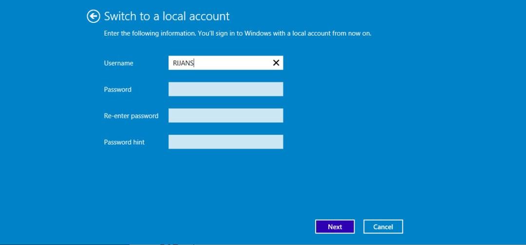Configure local account