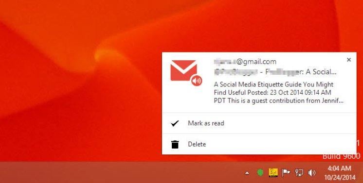 Popup desktop notification of Gmail