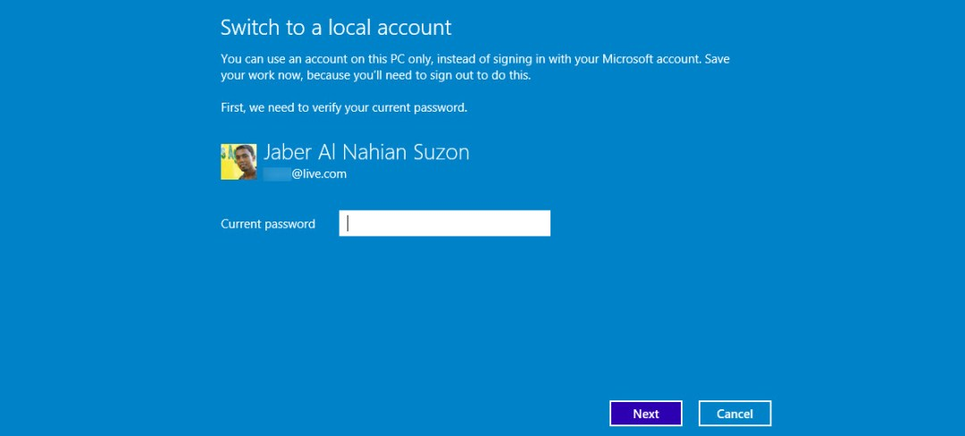 Reenter the password of Microsoft Account