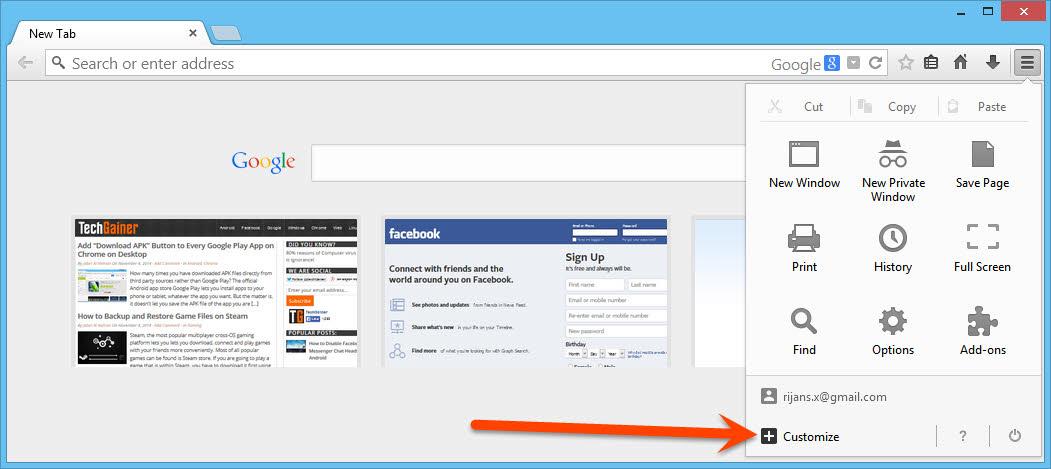 Customize Firefox buttons