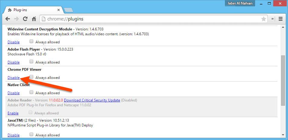 Disable Chrome PDF preview
