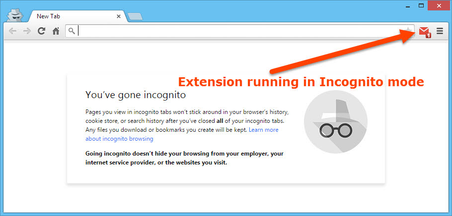 An extension running in Chrome private mode