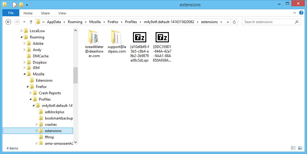 Firefox addon and extension folder