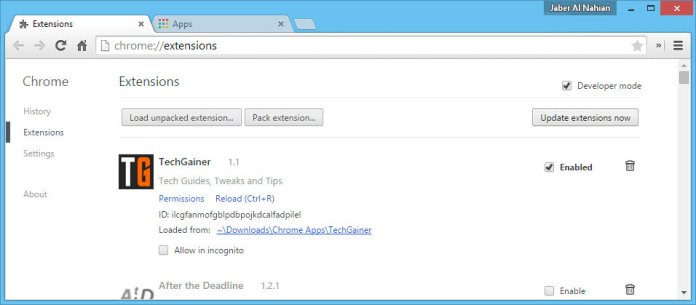 Loaded Chrome extension