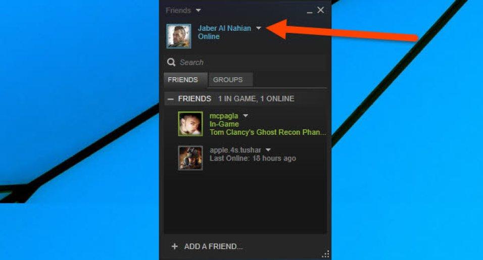 Click on profile aerrow icon