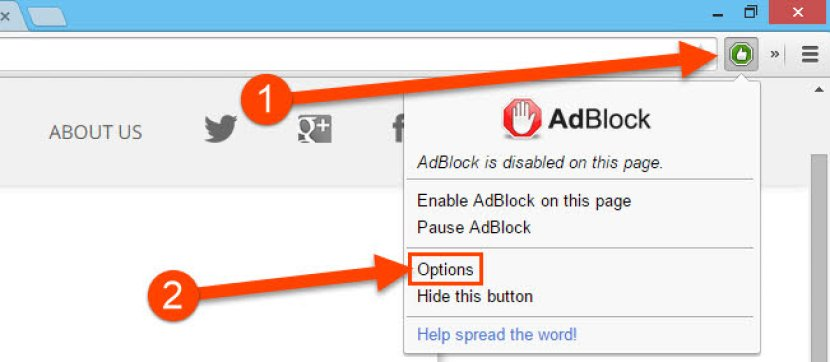 Access AdBlock Options from Toolbar