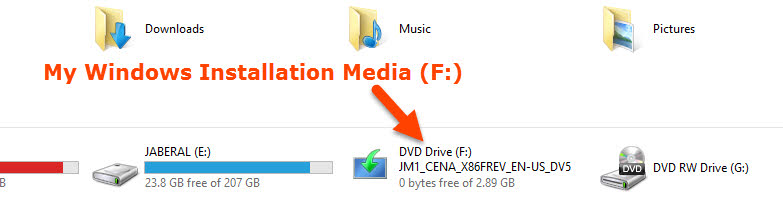 Note the Installation Drive letter