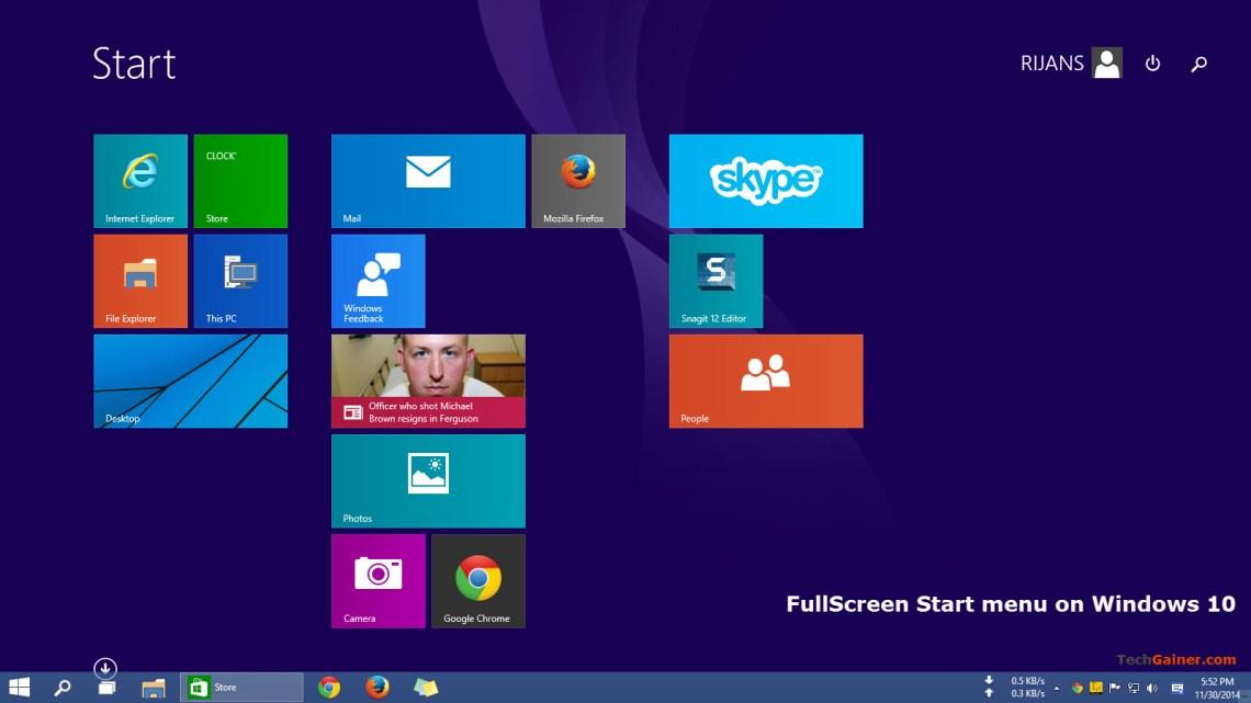 Start screen on Windows 10