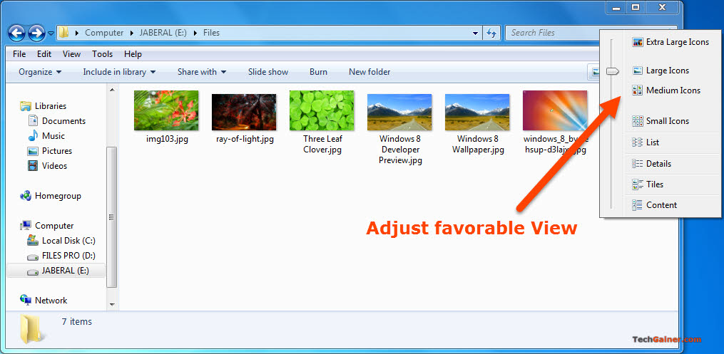 Adjust icon view style