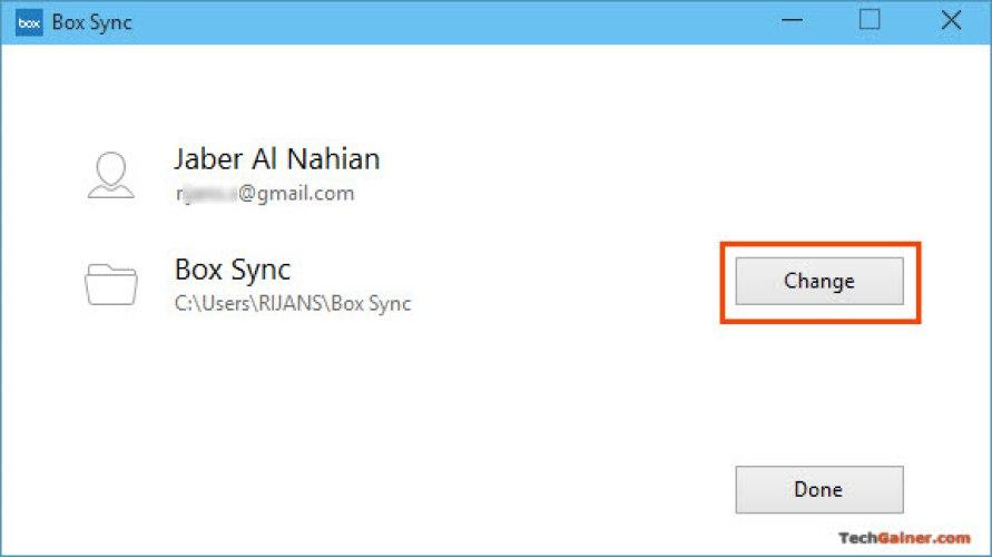 Change Sync Folder in Box