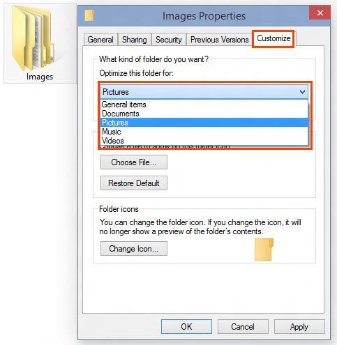 Customize folder view template