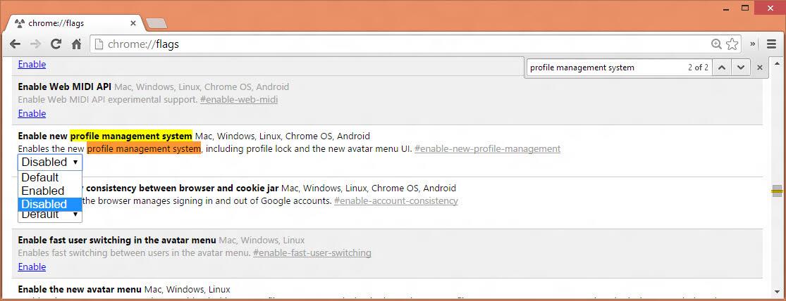 Disable Chrome's profile management system