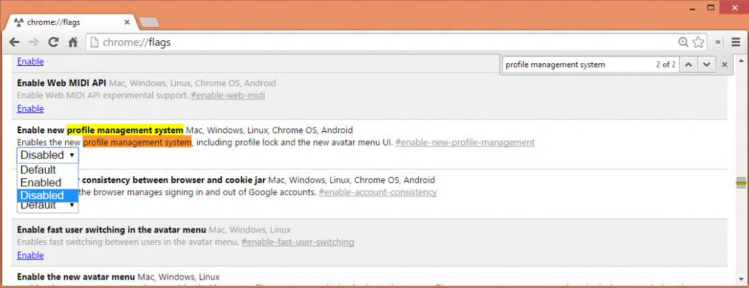 Disable Chrome's profile management system